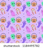 halloween pattern   colorful... | Shutterstock .eps vector #1184495782
