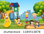 kids playing on playground... | Shutterstock .eps vector #1184513878