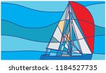 abstract sailboat with red... | Shutterstock .eps vector #1184527735
