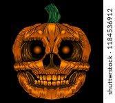scary pumpkin halloween vector... | Shutterstock .eps vector #1184536912