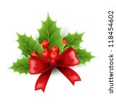 christmas holly decoration with ... | Shutterstock .eps vector #118454602
