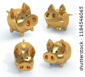 the golden pig  funny piglet  a ... | Shutterstock . vector #1184546065