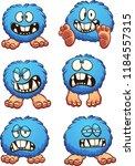 blue fluffy ball cartoon... | Shutterstock .eps vector #1184557315
