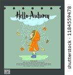 cute doodle girl under rain | Shutterstock .eps vector #1184559478