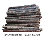 Stacked Wood Logs Isolated On...