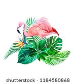 tropical leaves with pink... | Shutterstock . vector #1184580868