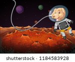 a dog astronaut in space... | Shutterstock .eps vector #1184583928