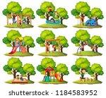 set of playground park scenes... | Shutterstock .eps vector #1184583952