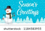 season greetings snowman card... | Shutterstock .eps vector #1184583955