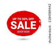 sale label banner. up to 50 ... | Shutterstock .eps vector #1184589442