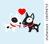 couple dog in love with heart.... | Shutterstock .eps vector #1184598715