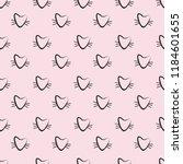 hand drawn cats vector seamless ... | Shutterstock .eps vector #1184601655