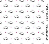 hand drawn cats vector seamless ... | Shutterstock .eps vector #1184601658