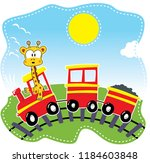 cute giraffe riding toy train... | Shutterstock .eps vector #1184603848