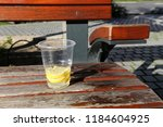 the bench is standing in the... | Shutterstock . vector #1184604925