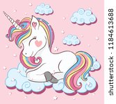 beautiful unicorn on clouds... | Shutterstock .eps vector #1184613688