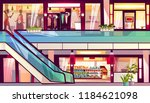 mall with shops and cafes... | Shutterstock .eps vector #1184621098