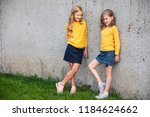 two little girls stand and... | Shutterstock . vector #1184624662