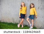 two little girls stand and... | Shutterstock . vector #1184624665