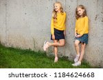 two little girls stand and... | Shutterstock . vector #1184624668