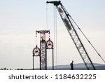 pile crane.. construction...   Shutterstock . vector #1184632225