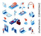 online medicine isometric set... | Shutterstock .eps vector #1184633662