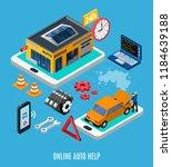online auto help isometric... | Shutterstock .eps vector #1184639188