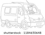 driver in his fast delivery van | Shutterstock .eps vector #1184650648