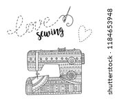 vector card with sewing machine ... | Shutterstock .eps vector #1184653948