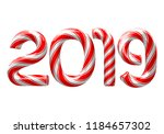 candy cane numbers of 2019 new... | Shutterstock .eps vector #1184657302