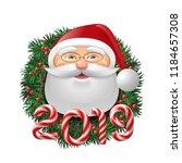 santa claus over evergreen... | Shutterstock .eps vector #1184657308