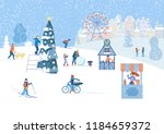 winter poster with happy people ...   Shutterstock .eps vector #1184659372