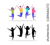 happy jumping group of people.  ...   Shutterstock .eps vector #1184666272