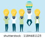 person with a light bulb head... | Shutterstock .eps vector #1184681125