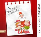 Santa And Children. Vector...