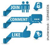 set social media stickers with... | Shutterstock . vector #118468336
