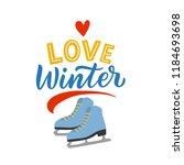 winter illustration skates with ... | Shutterstock .eps vector #1184693698