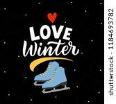 winter illustration skates with ... | Shutterstock .eps vector #1184693782