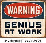 vintage metal sign   warning... | Shutterstock . vector #118469605