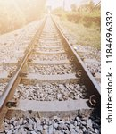 railway with flare light | Shutterstock . vector #1184696332