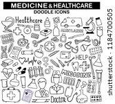 doodle medicine icon set for... | Shutterstock .eps vector #1184700505