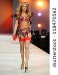 Small photo of Abbey Clancy on the Agent Provocateur catwalk at the Lingerie London show at Old Bilinsgate Market, London 24/10/2012