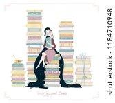 a girl  lots of books  a bird... | Shutterstock .eps vector #1184710948