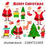new year set in vector. santa... | Shutterstock .eps vector #1184711305
