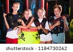 cheerful teen girls and boys...   Shutterstock . vector #1184730262