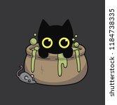 cat halloween and magical... | Shutterstock .eps vector #1184738335