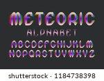 meteoric alphabet. colorful... | Shutterstock .eps vector #1184738398