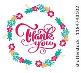 thank you hand drawn text with... | Shutterstock . vector #1184743102