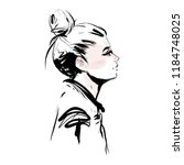 beautiful young woman profile... | Shutterstock .eps vector #1184748025