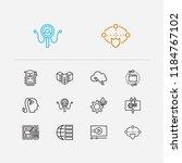 digital technology icons set....